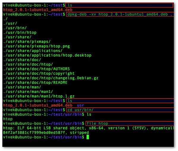 Для извлечения файлов из пакета Debian используйте команду dpkg-deb